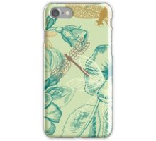Beautiful Drangonfly and flowers pattern iPhone Case/Skin