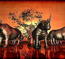 Twelve sad rhinoceros at sunset 2.0 by andreisky
