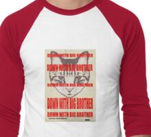 Orwellian Cat: Down With Big Brother Men's Baseball ¾ T-Shirt