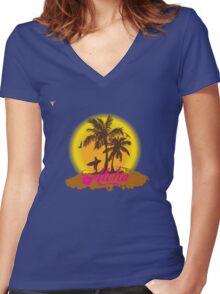 Hawaii Island Palm Tree Sunset Aloha Holidays T-Shirt  Women's Fitted V-Neck T-Shirt
