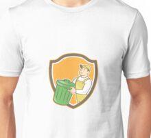 Garbage Collector Carrying Bin Shield Cartoon Unisex T-Shirt