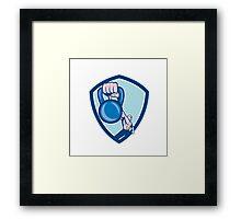 Weightlifter Lifting Kettlebell Shield Cartoon Framed Print