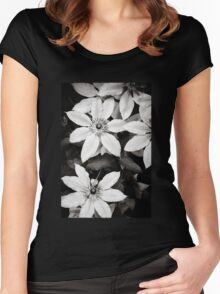 Clematis Flowers - Black & White Women's Fitted Scoop T-Shirt