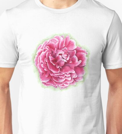 Pink and White Watercolor Peony Unisex T-Shirt