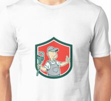 Plumber Monkey Wrench Thumbs Up Shield Cartoon Unisex T-Shirt