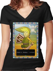 King of the Hill - Link from Zelda and Navi - Parody - Dammit, Bobby, listen!  Women's Fitted V-Neck T-Shirt