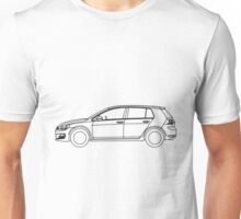 VW Golf MK7 Side Blueprint Black Lines Unisex T-Shirt