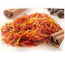 Macro view on fragrant saffron closeup  Poster