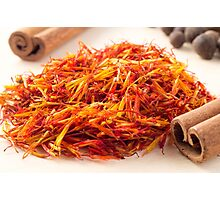 Macro view on fragrant saffron closeup  Photographic Print