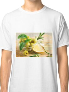 Green pitted olives decorated with herbs and rosemary Classic T-Shirt