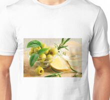 Green pitted olives decorated with herbs and rosemary Unisex T-Shirt