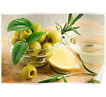 Green pitted olives decorated with herbs and rosemary Poster