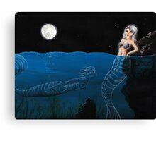 Mixed Media Creepy Mermaid Canvas Print