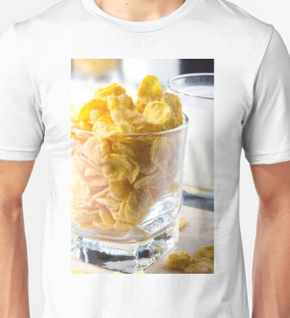 Corn flakes and glass of milk Unisex T-Shirt