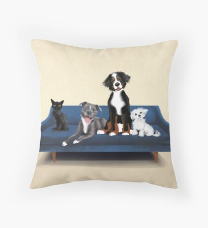 Lobel Pups- blue Throw Pillow
