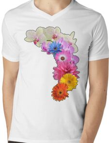 Flowery Love Mens V-Neck T-Shirt
