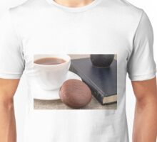 Cup with hot cocoa and chocolate cake Unisex T-Shirt