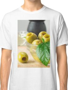 Green marinated olives pitted adorned with green leaves Classic T-Shirt