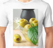 Green marinated olives pitted adorned with green leaves Unisex T-Shirt