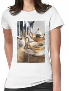 Breakfast in vintage style - espresso and Savoiardi on the table Womens Fitted T-Shirt