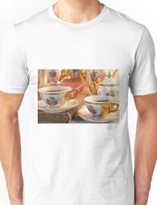 Retro porcelain coffee cups with hot espresso and vintage dishware Unisex T-Shirt