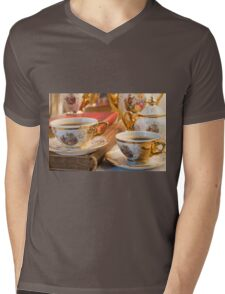 Retro porcelain coffee cups with hot espresso and vintage dishware Mens V-Neck T-Shirt