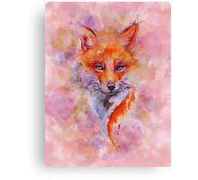 Watercolor colorful Fox Canvas Print