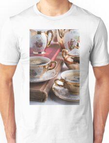 Hot coffee and retro crockery for breakfast Unisex T-Shirt