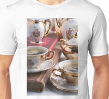 Hot coffee and retro crockery for breakfast Unisex T-Shirt