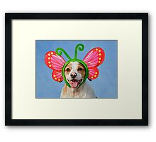 Cute Dog with Butterfly Ears Framed Print