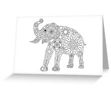 Elefant Grafik, Blumenmuster in schwarz weiß Greeting Card