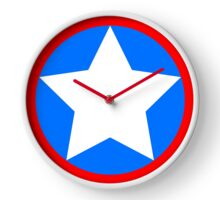 Red White Blue Star Clock