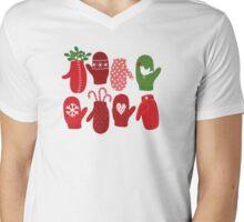 Red Loving Mittens by Robin Pickens Mens V-Neck T-Shirt