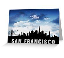 San Francisco California Skyline Cityscape Nightfall Greeting Card