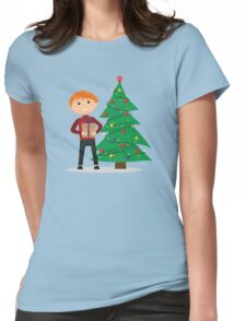 Boy with a gift in hands near the Christmas tree Womens Fitted T-Shirt