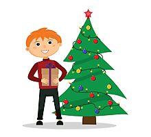 Boy, gift, hands, near, Christmas, tree Photographic Print