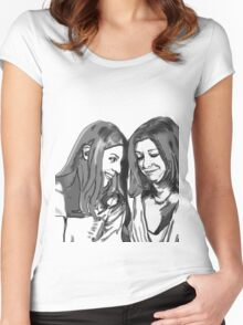 black and white Willow and Tara Women's Fitted Scoop T-Shirt