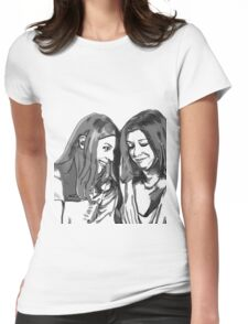 black and white Willow and Tara Womens Fitted T-Shirt
