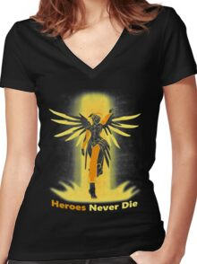OVERWATCH MERCY Women's Fitted V-Neck T-Shirt