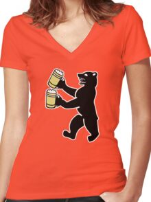 ours berlin beer Bier bear Women's Fitted V-Neck T-Shirt
