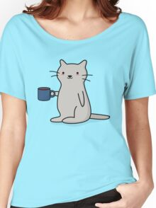 Cute Coffee Cat Women's Relaxed Fit T-Shirt