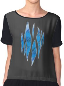 Dedsec Graffiti Spray Custom Blue Chiffon Top