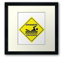 Swimmers Crossing Framed Print