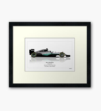 Nico Rosberg - Mercedes W07 - Champion edition art print Framed Print