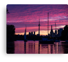 Toronto Skyline - the Boats Are Coming In Canvas Print