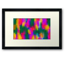 pink blue green orange yellow and purple pixel background Framed Print