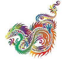 Rainbow Dragon in White Photographic Print
