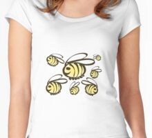 Happy Bees! Super cute Honey makers. Women's Fitted Scoop T-Shirt