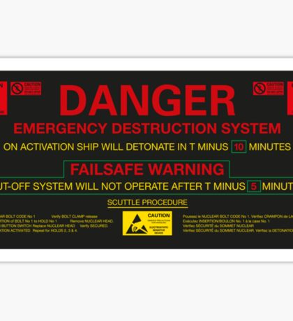 EMERGENCY DESTRUCTION SYSTEM Sticker