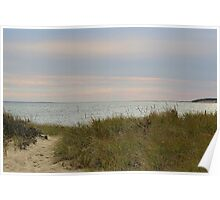 Afternoon setting sun at the beach in autumn Poster